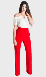 Paris Wide Leg Pants - Red