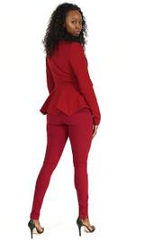 Peplum Blazer - Deep Red