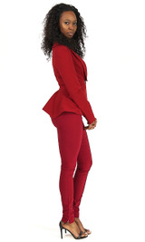 Peplum Blazer - Deep Red