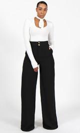Double Button Pants - Black