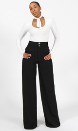 Double Button Pants - Black