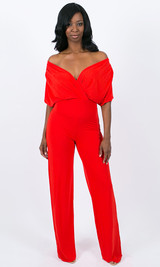 Julia Wrap Jumpsuit - Red