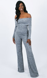 Piper Foldover Jumpsuit - Light Gray