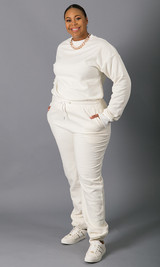 Sweatin' Me Crew Neck Sweatshirt - White