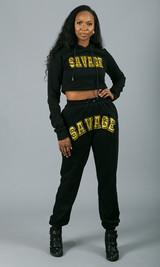 Savage Crop Hoodie - Black