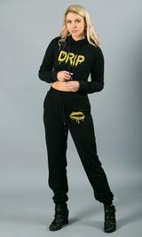 Drip Crop Hoodie - Black