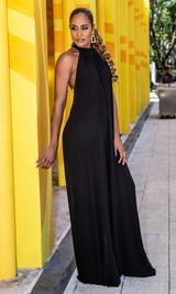 Panama Halter Wide Leg Jumpsuit - Black