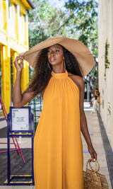 Vacation Vibes Oversized Beach Hat - Wheat