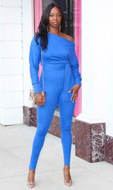 Jasmine Off Shoulder Jumpsuit - Blue