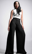Pleated Wide Leg Chiffon Pants