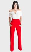 Paris Wide Leg Pants - Red