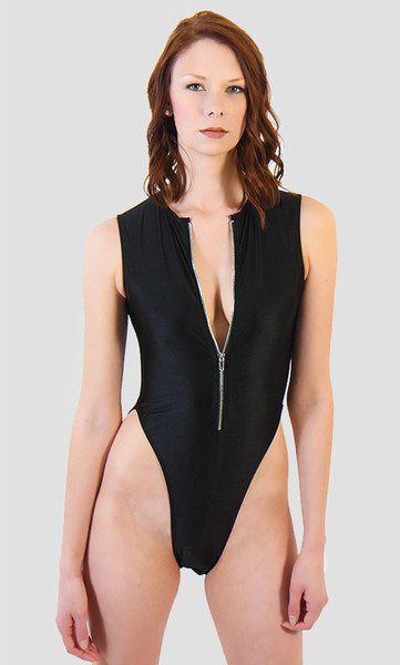 Zip Up High Cut One Piece Swimsuit - Tall/Long Torso