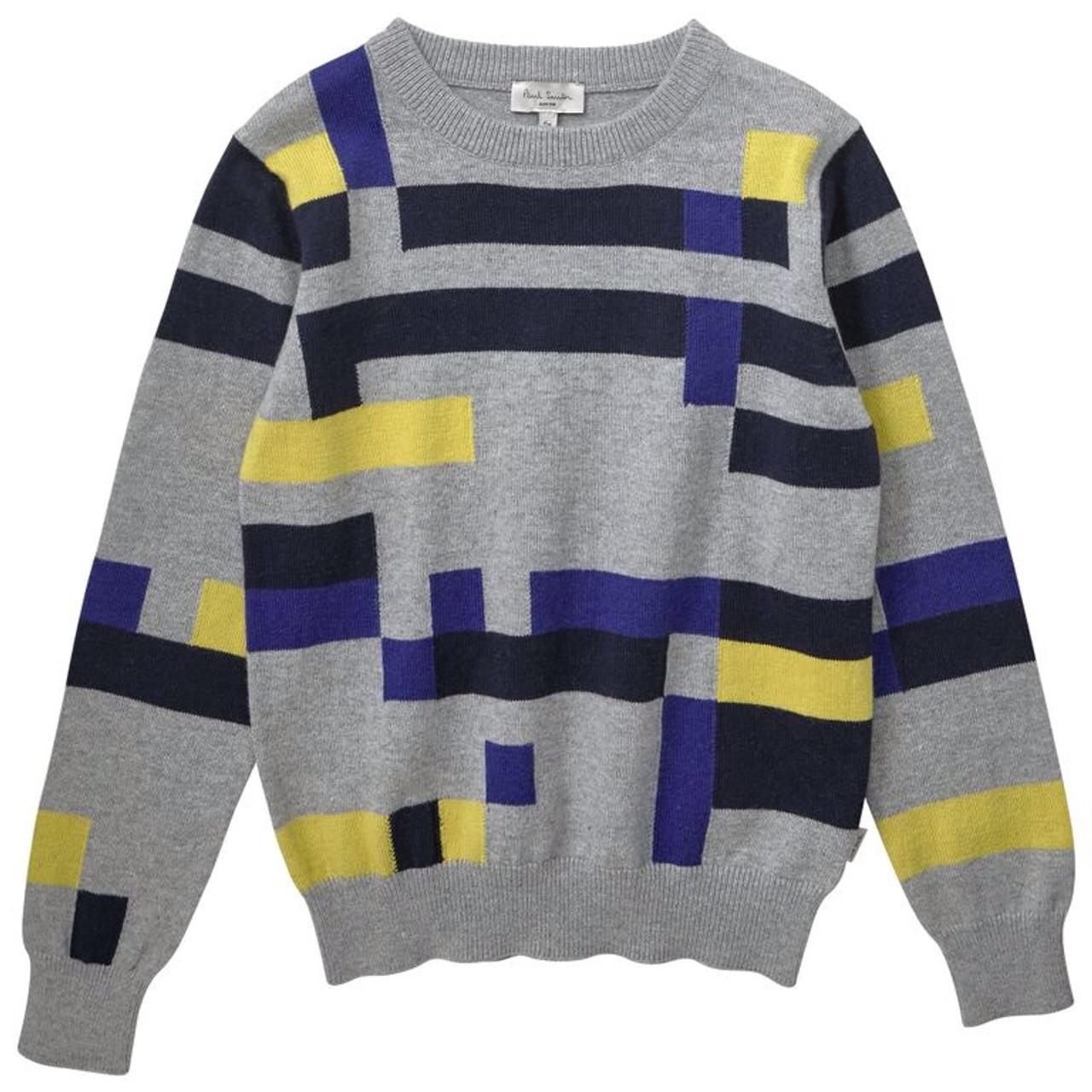 cae122fa36 Paul Smith boys color-block sweater in bright colors.