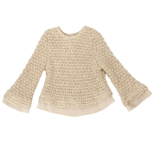 Patachou beige and gold knit sweater. 7524e7445