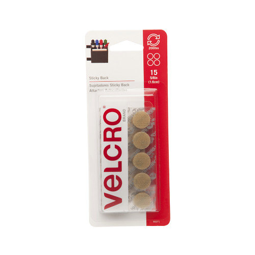 "5/8"" VELCRO® Brand Circles Pack of 15 Hook & Loop Beige"