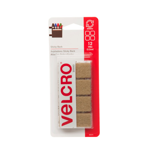 "7/8"" VELCRO® Brand Squares Pack of 12 Hook & Loop Beige"