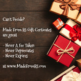 Made From RI Gift Certificates - At The Holidays