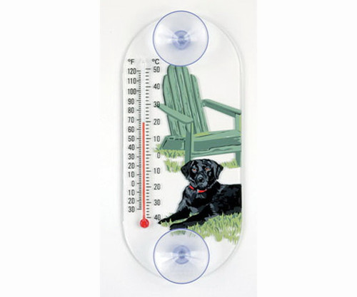 Window Thermometer- Acrylic- Black Lab