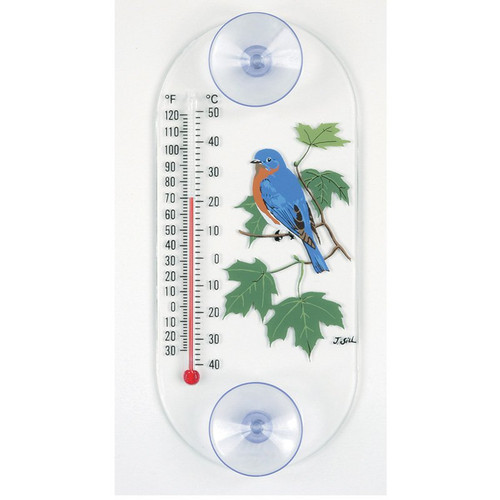 Window Thermometer- Acrylic- Bluebird/Maple