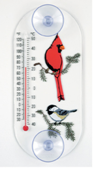 Window Thermometer- Acrylic- Cardinal/ Chickadee