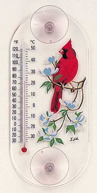 Window Thermometer- Acrylic- Cardinal/Dogwood