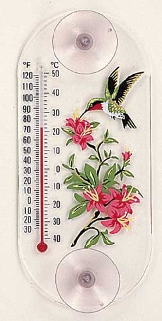 Window Thermometer- Acrylic- Hummingbird/Azalea