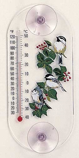 Window Thermometer- Acrylic- Titmouse/Chickadee