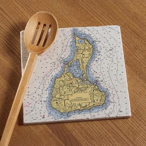 Block Island Chart Tile Trivet
