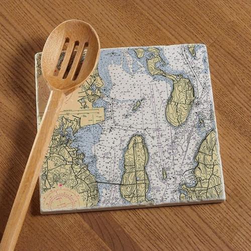 Prudence Island Chart Tile Trivet