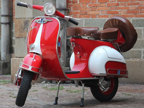 Red and White Classic Vespa