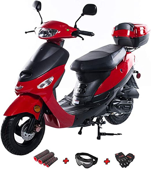 X-PRO 50cc Moped Scooter Gas Moped 50cc Scooter Street Bike (Red)