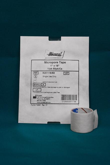 """Micropore Tape 1"""" x 18"""", 1/pk 50/pk/cs"""