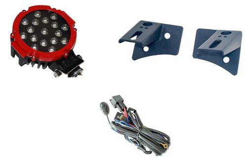 "Radius 7"" Spot (Red or Black) 51W With Metal Lower A-Pillar Brackets And Wiring Harness"