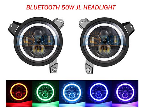 "JL 7"" G14 100W RGB BLACK LED Headlights With Bluetooth (ANTI FLICKER INCLUDED)"