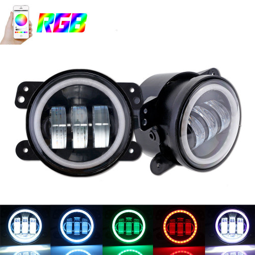 "Fog Lights RGB - 4"" - BLACK - Bluetooth Control 30W With DRL White Function - Jeep JK"