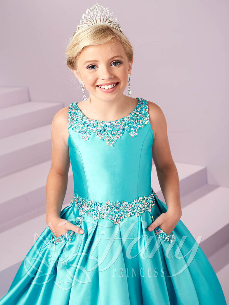 Scoop Neckline Girls Pageant Gown Tiffany Princess 13485