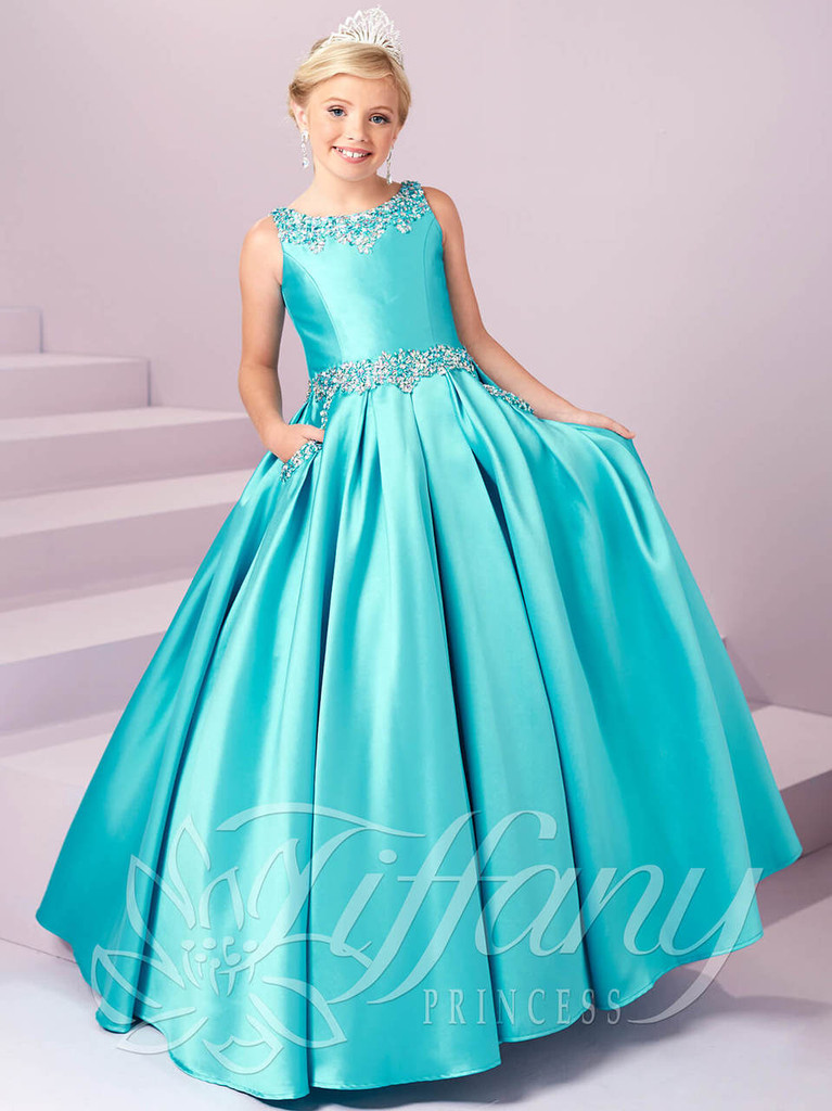 Pocketed Skirt Pageant Dress by Tiffany Princess 13485
