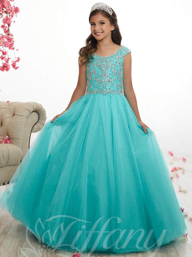 Beaded Tulle Pageant Gown by Tiffany Princess 13521