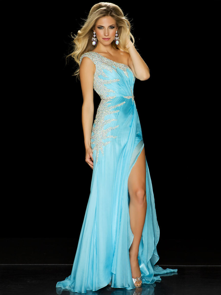 Mac Duggal One Shoulder Pageant Gown 50069P