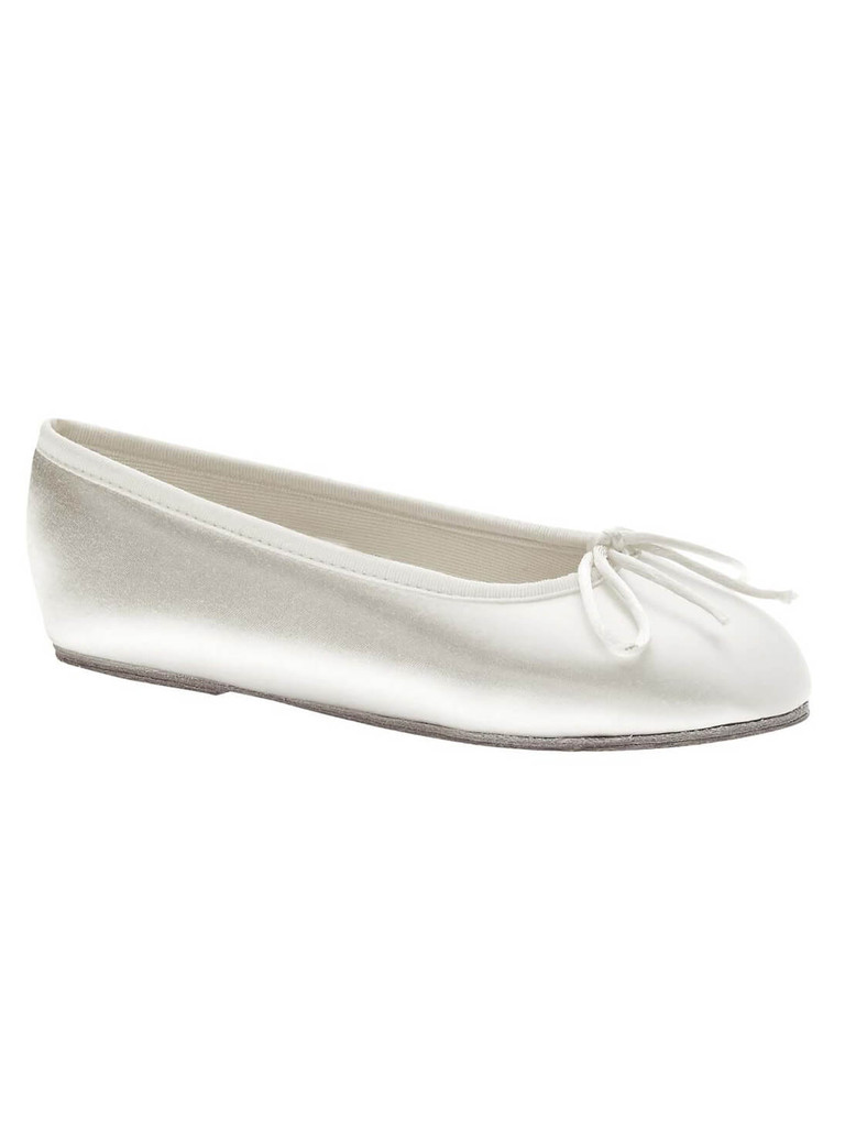 flat white satin ballerina pageant shoes by touch ups ballet 144