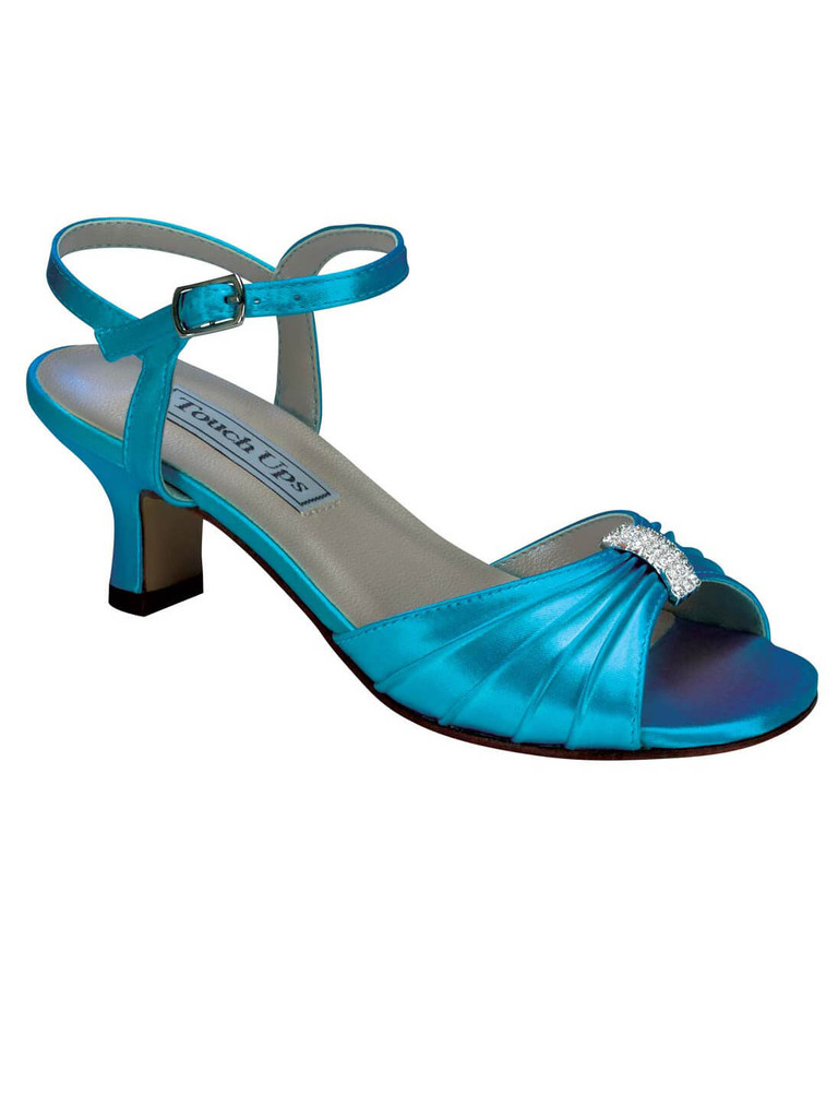 Teal dyed pageant shoes for children by Touch Ups Talia