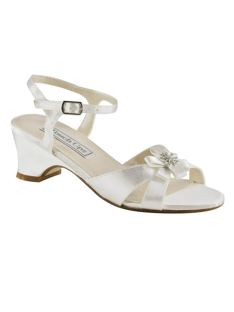 "dyable pageant shoes for girls 1¼"" height heel in white satin touch ups tina 154"