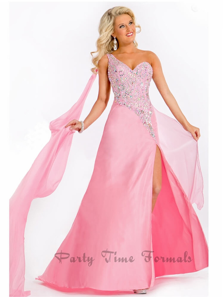 Pink Pageant Dress with High Thigh Leg Split by Prima Donna Pageant 5658