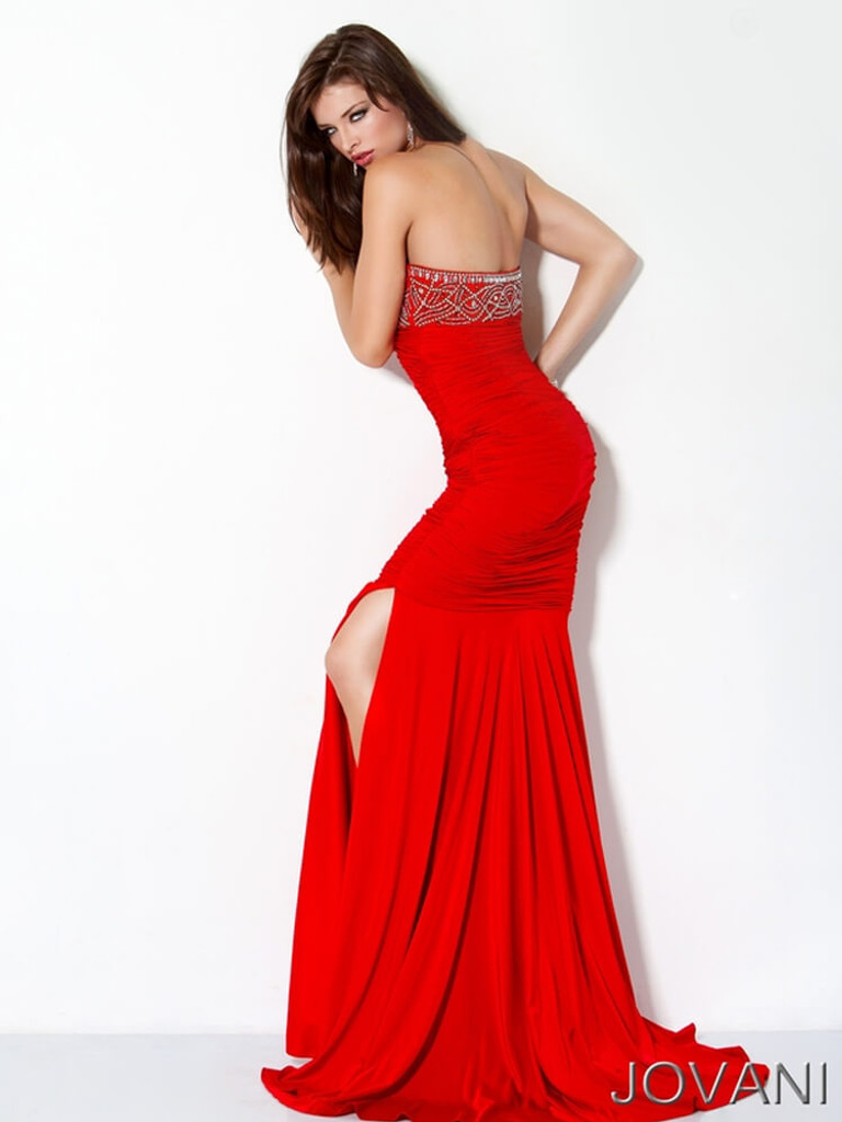 Red Jersey Prom Pageant Dress Jovani 172033