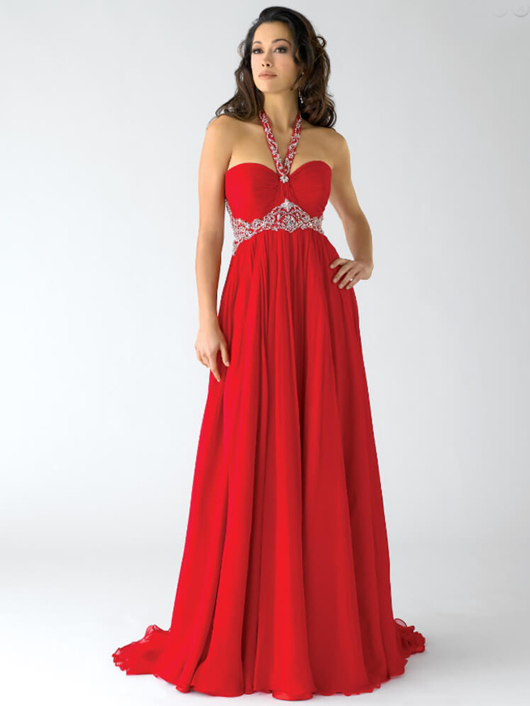Red crown collection pageant dress halter neck line style 6012 on sale
