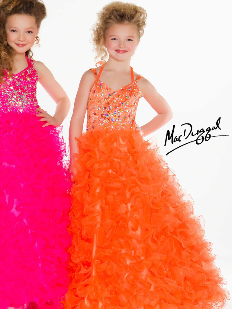 Tangerine pageant dress for little girls mac duggal sugar style 4996S