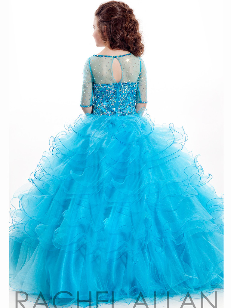 turquoise pageant dress for little girls with illusion neckline long sleeves and ruffled skirt