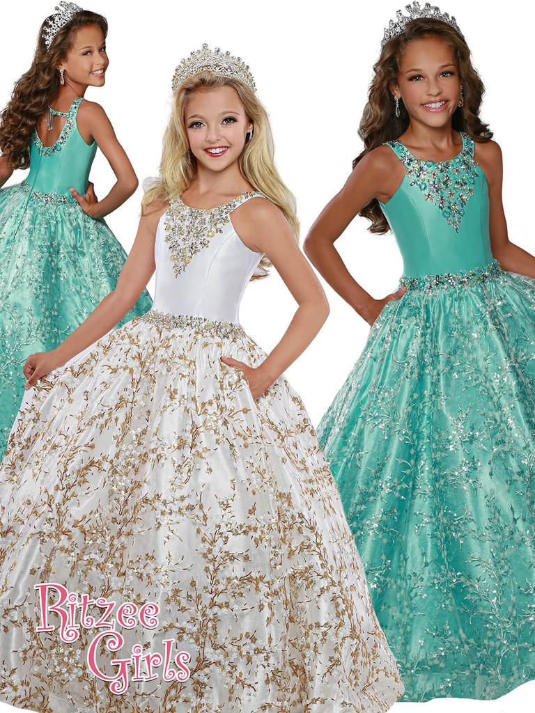 Ball Gown Ritzee Girls 7915 Pageant Dress PageantDesigns