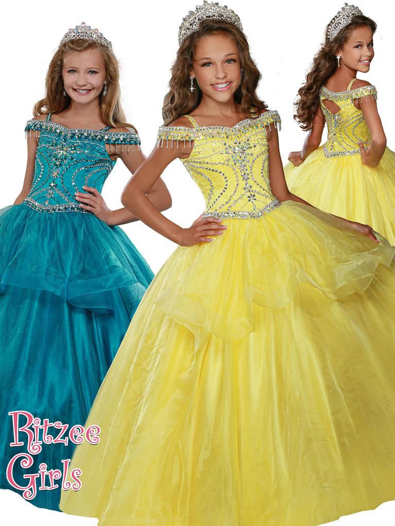 Ball Gown Ritzee Girls 7921 Pageant Dress PageantDesigns
