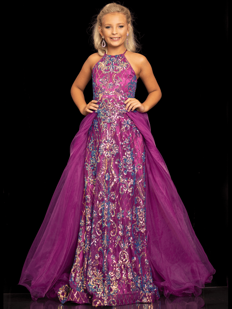 Halter Sugar Kayne C112 With Overskirt Pageant Dress PageantDesigns
